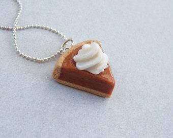 Pumpkin Pie Slice Necklace - polymer clay miniature food jewelry