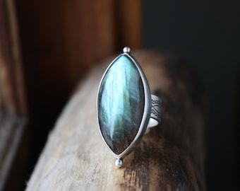Labradorite Ring, sterling silver gemstone ring, statement ring, big blue stone ring, artisan metalwork carpe diem