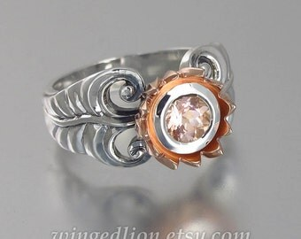 size 7.5 Ready to ship PINK LOTUS 14K gold and silver ring with Morganite