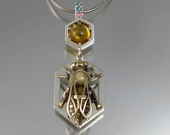 RESERVED for I. - HONEY BEE silver and 14k gold pendant with citrine