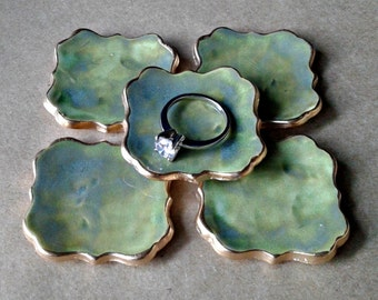 FIVE  Ceramic ring bowls TINY  Moss Green edged in gold