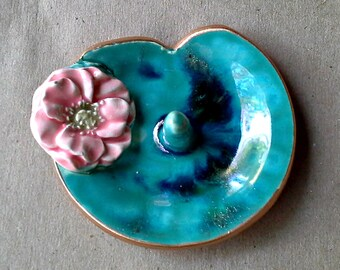 Water Lily Ceramic Wedding  Ring Holder Bowl Coral Flower edged in gold