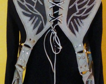 Dark & Light Grey Leather Angel Wings shoulder holster by Darkwear Clothing Co.