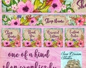 Watercolor Spring floral Etsy shop Banner and Avatar by Sea Dream Studio  OOAK