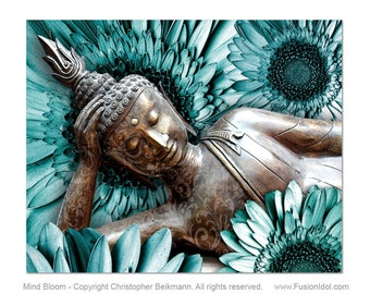 Blue and Brown Buddha Art Canvas - Mind Bloom Buddha and Daisy Flower Giclee Art Print by Artist Christopher Beikmann