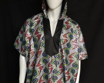 Sale! African Disco Spirit World Poncho© Cotton with Silk Lining, Menswear, Festival Clothing, Caftan, Dashiki