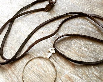 Antique, Vintage Optical Lens / Monocle on Leather Cord Necklace