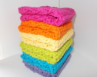 Crochet Rainbow Dishcloth, Washcloth, Wash Rag, Extra Large Size , Set of 6, Kitchen Dish Cloths, Brights, Ultimate Stack, Large Set