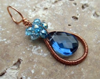 Wire Wrapped Pendant, Sapphire Blue Pendant, Copper Pendant, Sparkling Pendant, Aquamarine Pendant, Wire Wrapped Necklace, KAWTHAR