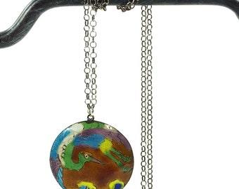 70s Sterling & Enamel Necklace / Vintage 1970s Laurel Burch Chinese Export Cloisonne Crane Bird Pendant on Silver Chain / Hippie Boho