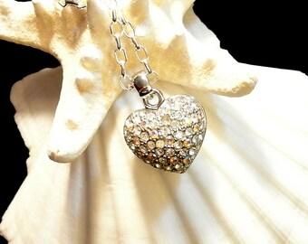 Rhinestone Puffed Heart Necklace, Rhinestone Heart Pendant, 20 Inch Silver Chain, Silver Puffed Heart, Christmas Gift