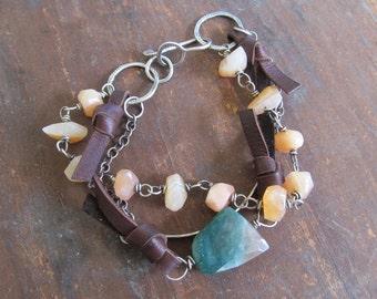 BOHO BRACELET Silver Leather Triple Multi Strand Funky Hippie Sundance Style Bracelet Bracelet
