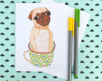 Friendship Card, Coffee Card, Pug Greeting Card, Funny Greeting Cards, Blank Just Because Cards, Pug Gift, Coffee Gifts, Funny Animal Prints