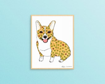 Corgi Art Print, Corgi Art, Corgi Gifts, Dog Art Print, Corgi Decor, Animal Wall Art, Gifts Under 20, Dog Lover Gift, Corgi Wall Art