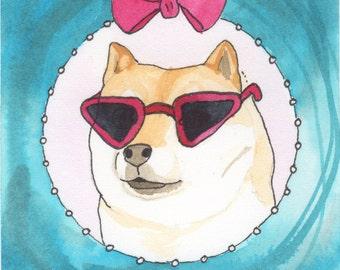 Shiba Inu Art Gifts, Gifts for Dog Lovers, Doge, Small Art Painting, Funny Animal Art, Funny Dog Art, Dog Lover Gift, Whimsical Animal Art