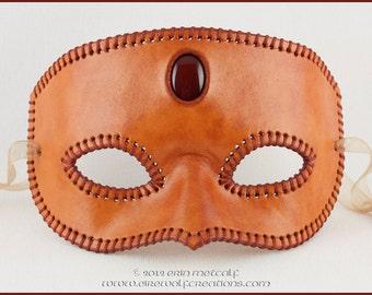 Third Eye stitched leather mask with carnelian stone, handmade Halloween Mardi Gras masquerade costume