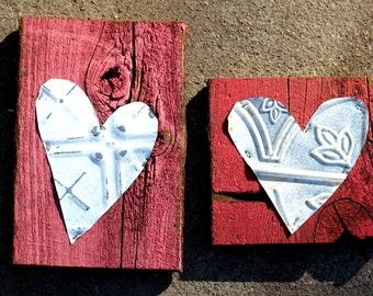 Rustic Valentine 1-plank wood/tin heart | pink/red | Limited Edition | Gallery Wall | Wedding Baby Anniversary Valentine gift | Home DECOR