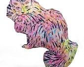 decorative pillow, cat pillow, kitty pillow, animal pillow, big fluffy cat shaped pink tie dye batik fabric