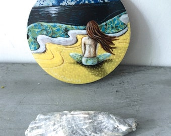 Beach decor, she looked past a sea of her own thoughts, one of a kind, Mounted Print, round wood slice