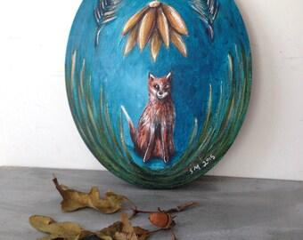 Fox nursery art, woodland animal,  Hold still the night, Original mixed medium paint on oval canvas