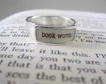 Book Worm Band Ring - Sterling Silver and Vitreous Enamel Book Lover Ring - Ring for Bookworms