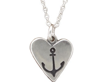 Nautical Necklace - Reversible Sterling Silver Sailboat and Anchor Pendant - Sailing Charm