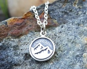Earth Element Necklace Charm - Sterling Silver Earth Symbol Necklace - Mountain Range Charm