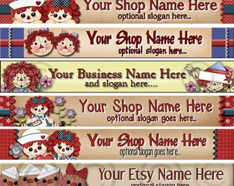 Raggedy Dreams  Designs - Premade Etsy Shop Banner - Etsy Banner - SHOP ICON - Assorted Primitive Raggedy Annies Theme