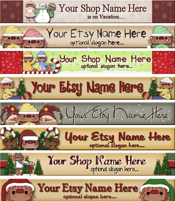 Premade Etsy Shop Banner - Etsy Banner Design - SHOP ICON - Primitive Christmas Raggedy Annie Andy Poinsettia Sled Snowflakes Snowman