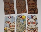 Set of 12 Primitive Whimsical Easter Bunny Rabbit Hang Tags Ornies Party Favors Tree Ornaments Scrapbooking Parties Gift Ties