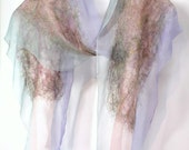 Silk Felt Scarf  In Stock Fast Ship sheer cashmere-soft merino in Pastels of pink lavender mint