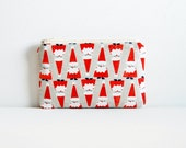 Small Zipper Pouch, Coin Purse, Women and Teens, Christmas, Santa Parade, Garland Collection by Cotton + Steel