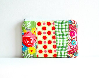 Coin Purse, Zipper Pouch, Mini Wallet, Patchwork. Women and Teens, Makeup Bag, Cosmetic Case, Pink and Green