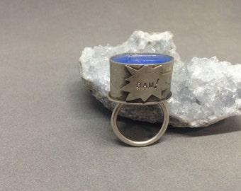 SALE! BAM ring, super hero ring, comic book ring, statement ring, silver kapow ring, red resin ring, cocktail ring, red kapow ring
