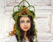 Queen of the Forest Headdress, Fantasy Woodland Headpiece, Costume Headdress, Goddess, Elven, Fairy, Fantasy, Cosplay, Halloween