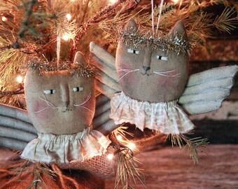 Primitive Christmas Angel Kitty Ornie, Primitive Ornie, Christmas Ornament, Christmas Decor, Cat Ornament, Angel Ornament