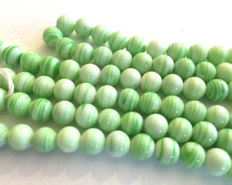 Vintage beads Japan (24) green stripe white opaque glass beads Occupied Japan cherry brand rounds 7mm 8mm (24)