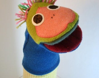 Puppet named Knute  made of 100% recycled wool sweaters
