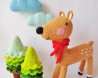 Shika and Christmas Trees - PDF Crochet Pattern