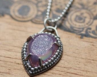 Druzy necklace, silver druzy necklace, drusy necklace, druzy pendant, druzy quartz necklace, boho jewelry, oxidized silver necklace, Mermaid