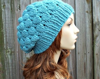 Marine Blue Beanie Knit Hat Womens Hat Blue Hat - Bubble Beanie in Marine Blue - Womens Accessories - READY TO SHIP