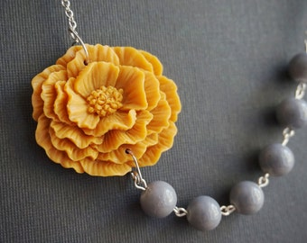 Statement Necklace,Mustard Flower Necklace,Mustard Necklace,Grey Necklace,Beaded Necklace,Bridesmaid Jewelry Gift,Bridesmaid Gift,Gift Her