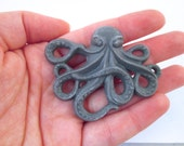 2 Grey Resin Octopus Cabochons (64x52mm)  nautical cabs