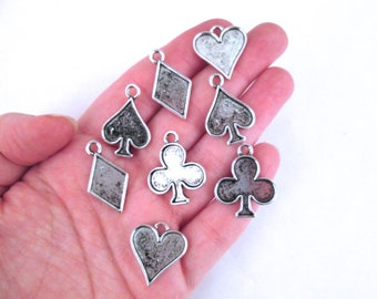 8 Silver Assorted Playing Card Charms, D242