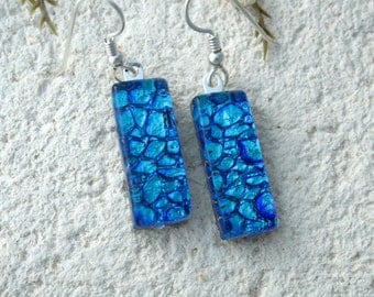Blue Earrings, Dichroic Earrings, Glass Earrings, Glass Jewelry, Dichroic Glass Jewelry, Dangle Drop Earrings,Sterling Silver, 062216e100