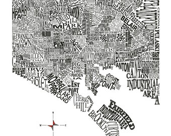 Baltimore Neighborhood Map 11x14in print