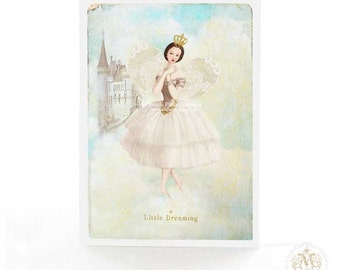 Fairy card, birthday card, Christmas card, fairy tale, ballerina, dreaming, castle in the clouds, blue and white, card for her, holiday card