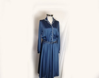 Vintage Dress, 1970's, Sunshine Alley, Blue, Royal Blue, White Piping, Belted, Below the Knee, Long Sleeve, Secretary Dress, Medium