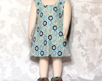 Reversible One Size Dress With Matching Shoes OOAK Fits 12mo-3T Clocks