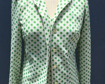 Green Polka Dot Dress & Jacket - Vintage Polyester Set